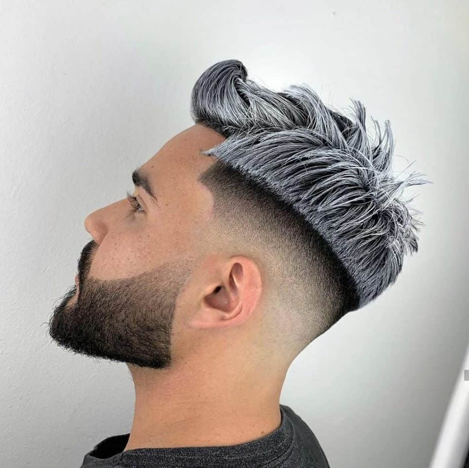 Disconnected haircut with grey hair dye finish