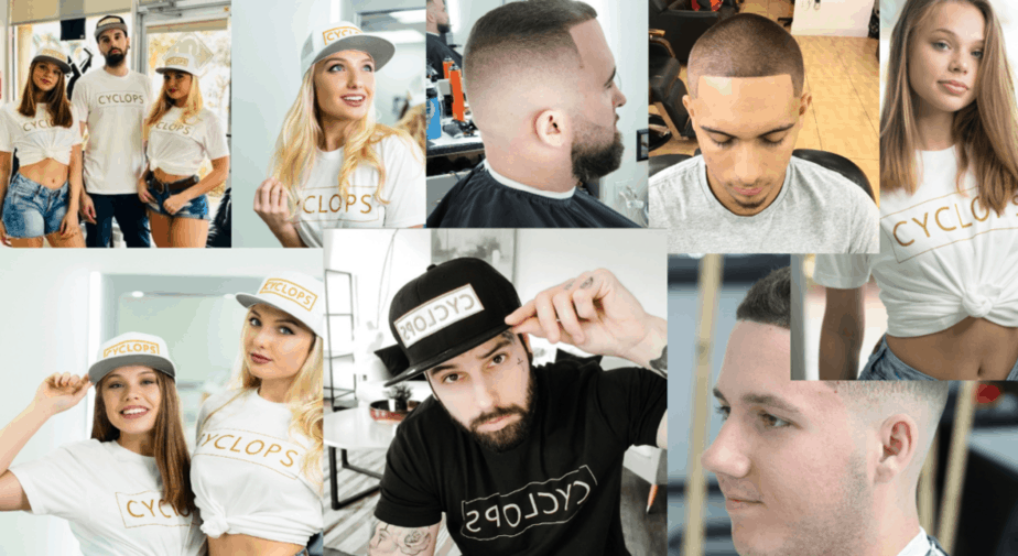 collage of barber haircuts and models