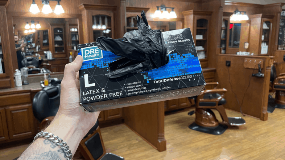 a box of latex gloves for barbers
