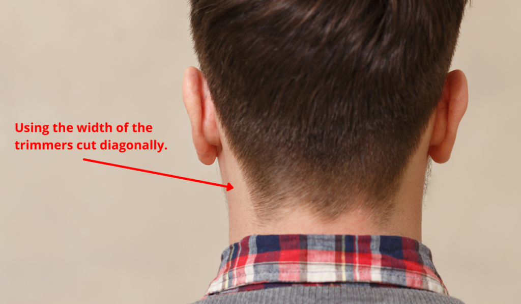 image showing how to use the trimmers around the neckline.